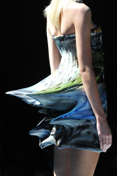 plastic collection was the finale of Chalayan's Spring 2009 ready-to-wear show in Paris. Although latex is pliable, those spiky backsides lead me to believe there would be some difficulty found when trying to sit in the